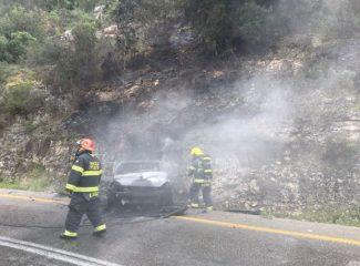 اشتعال النيران في منطقة حرشية بالجنوب اثر حادث طرق