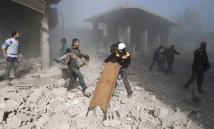 الدفاع المدني السوري قصف الغوطة الشرقية بغاز الكلور السام موطني 48