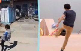 طفل إيراني يتحدى محمد صلاح (فيديو)