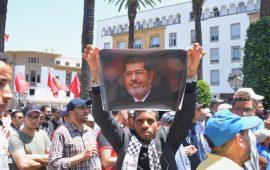 المغرب.. وفاة مرسي حاضرة بمظاهرة مناهضة لورشة المنامة