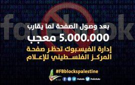 """""""فيسبوك"""" يحجب صفحة المركز الفلسطيني للإعلام"""