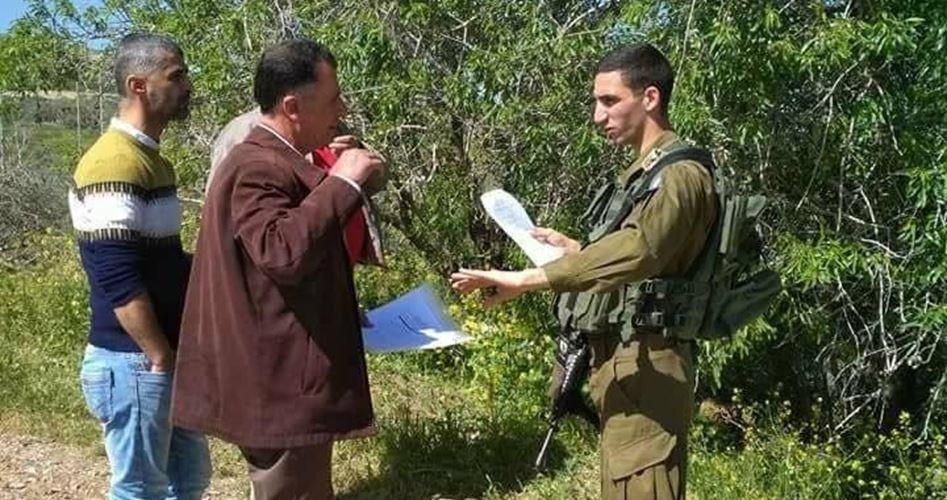 الاحتلال يمنع فلسطينيين من فلاحة أرضهم تنفيذًا لقرار اتخذ قبل 70 عامًا